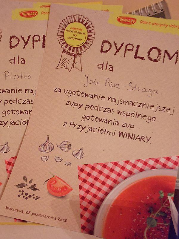 dyplom za ugotowanie najsmaczniejszej zupy podczas wspólnego gotowania zup z Przyjaciółmi Winiary
