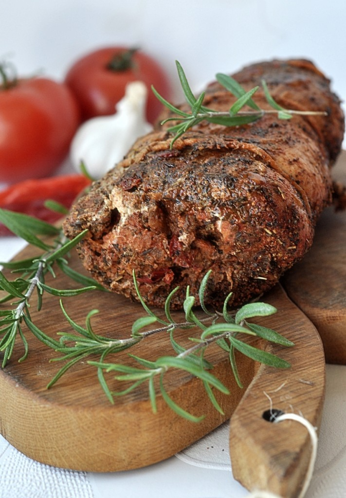 Schab pieczony faszerowany warzywami