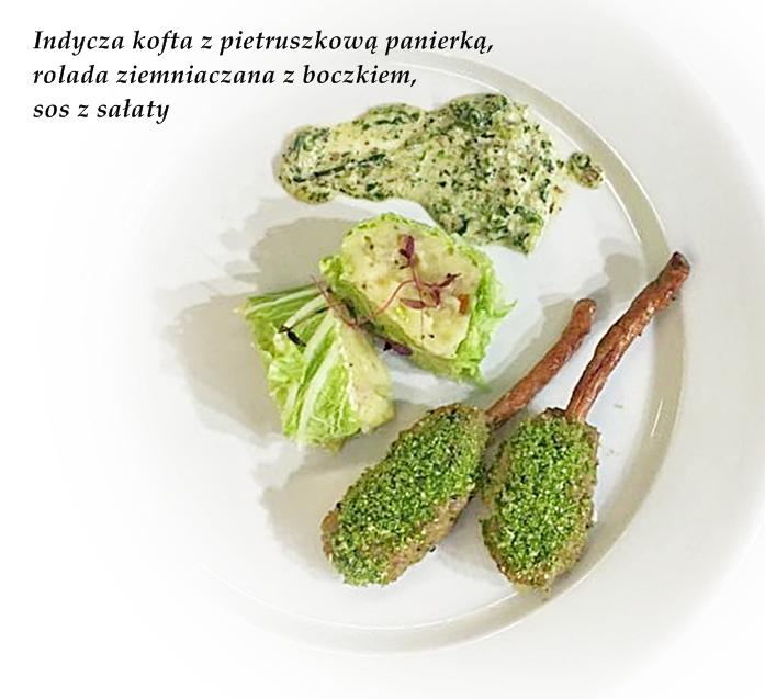 indycza-kofta-na-kabanosie-z-pietruszkowa-panierka-puree-ziemniaczane-z-boczkiem-i-chrzanem-oraz-sos-z-salaty-rzymskiej-z-e-smietana-i-mlekiem-kokosowym