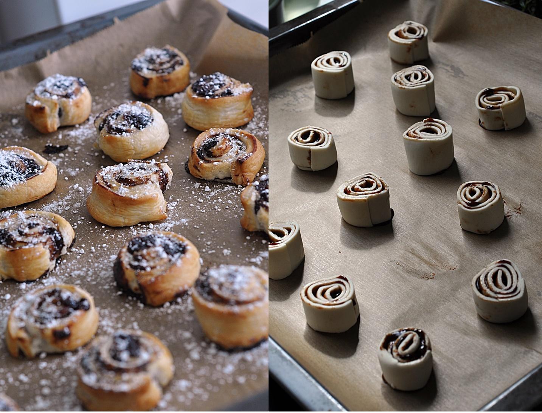 Słodkie roladki z ciasta francuskiego