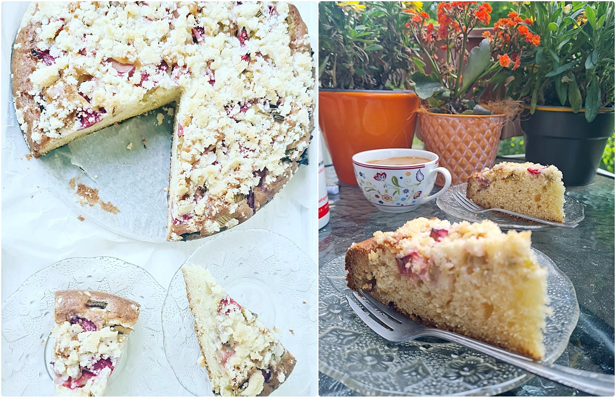 Pyszne ciasto z rabarbarem, truskawkami i maślaną kruszonką